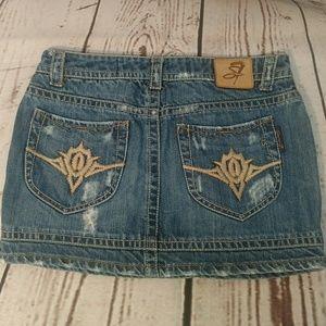 7 For All Mankind Distressed Denim Mini Skirt. 29